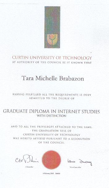 Graduate Diploma in Internet Studies Passed with Distinction