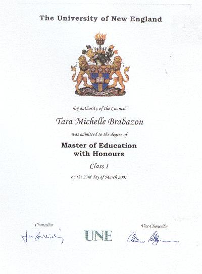 Master of Education with First Class Honours