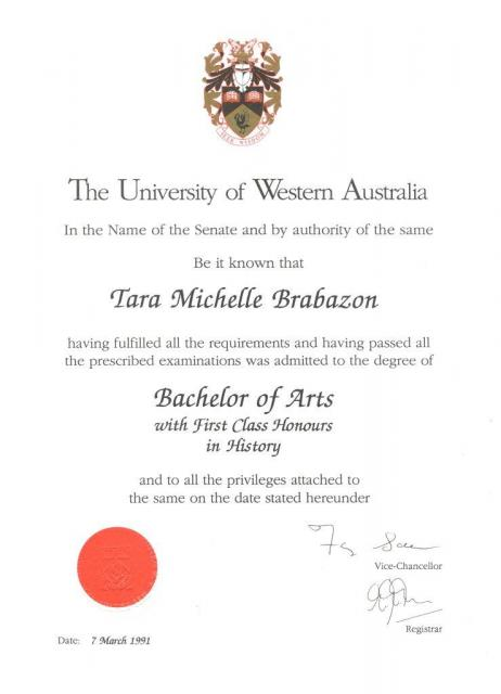 BA with first class honours
