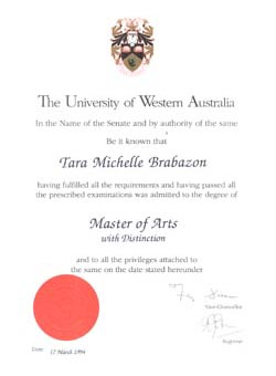 MA in history (passed with distinction)
